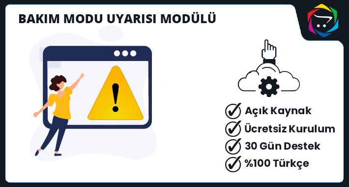 Opencart  Bakım Modu Uyarısı Modülü