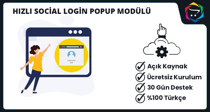 Opencart Gelişmiş Social Login Popup Modülü